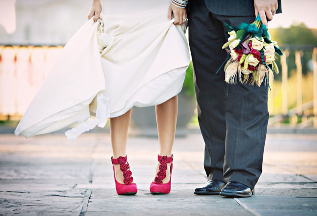 Blue shoes from SPRING photographed by Jamie Delaine via Green Wedding Shoes