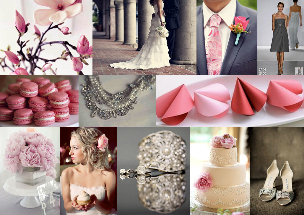 wedding color theme inspiration Pink Grey Inspiration Board