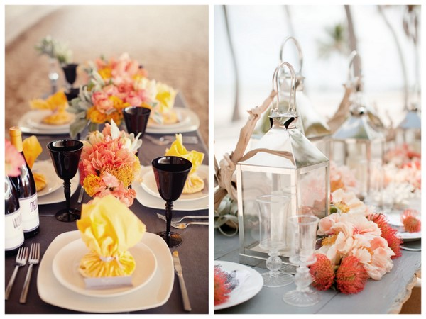 yellow and coral table arrangements Blossom and Branch Maggie Harkov