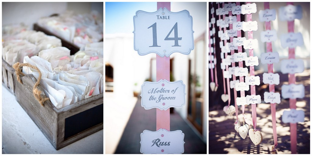 pink and grey wedding decoration